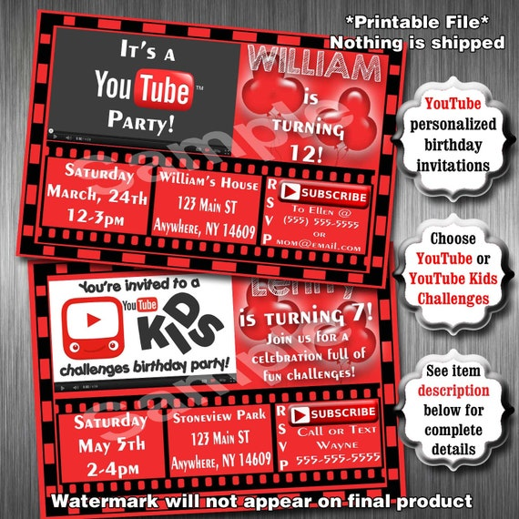 Youtube birthday party invitations printable invitation etsy image 0 stopboris Image collections