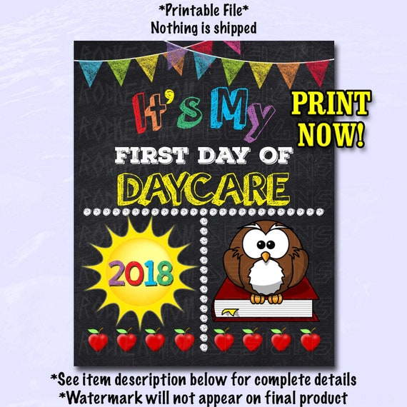 first day of daycare sign first day of school sign daycare etsy