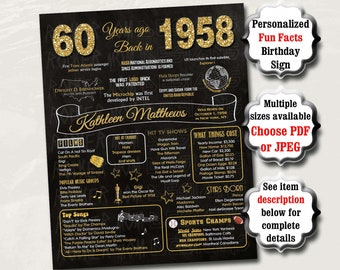 60th Birthday Poster Sign Party Decoration PRINTABLE, 60th Birthday Gift for Women, 60th Birthday Chalkboard, 1958 Birthday, Mom, 1958 Sign