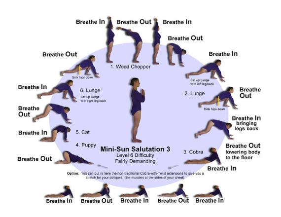 Sun Salutation Reference Card Intermediate Version 3 Plus Etsy