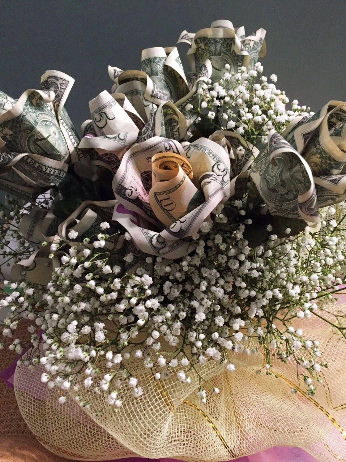 Real Dollar Bill Money Flower Bouquet Origami Custom Message Etsy