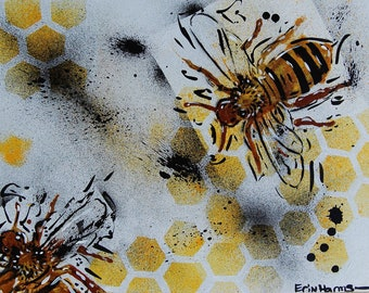 Abstract Acrylic Watercolor Stencil Bumble Bee Flat Canvas