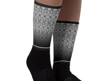637791ba0 Short Boot Socks Black White Lace Design Crazy Patterned Socks Printed Sox  Scandinavian Nordic Crew Length Socks Cute Socks Ombre Fancy Sock