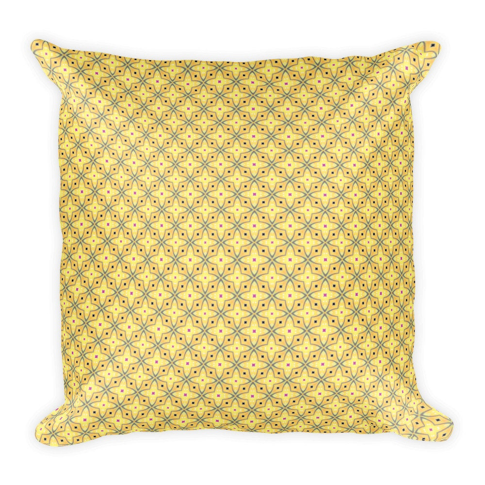 Yellow Throw Pillow Blue Pink Accent Pillow Gold Cushion Cross Pattern Pillow Pillow Cover Square Pillow Machine Washable Pale Yellow W Blue