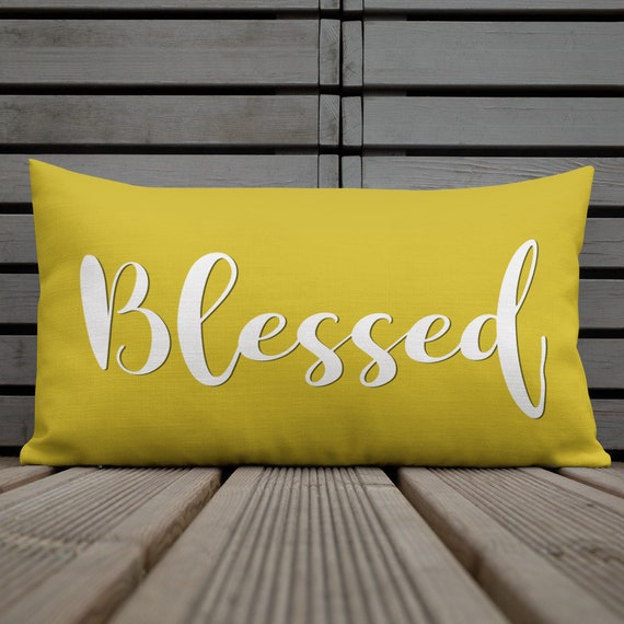 Yellow Gold Throw Pillows.Yellow Pillows Blessed Quote Gold Throw Pillow Lumbar Outdoor Pillows For Patio Chairs Or Entryway