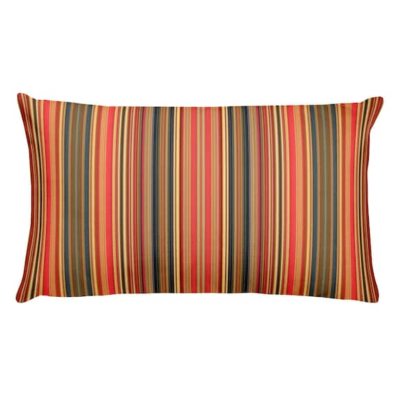 Coral Striped Indoor Outdoor Lumbar Throw Pillows Removable Etsy