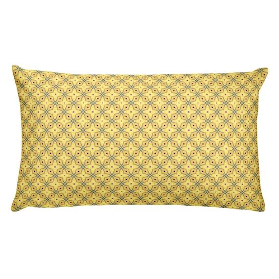 Lumbar Pillow Pale Yellow Indoor Outdoor Lumbar Pillows Blue Etsy