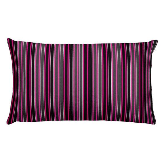 Designer Lumbar Pillow Pink Grey Black Striped Accent Pillow Etsy