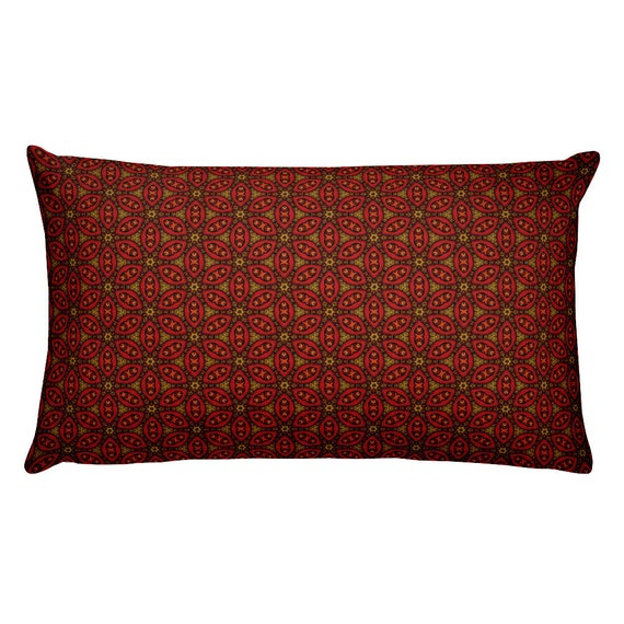 Indoor Outdoor Pillows Lumbar Pillow Turkish Design Red Brown Etsy
