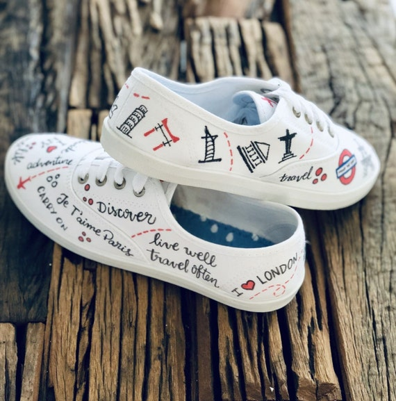 Travel lover Shoes Hand Painted Canvas