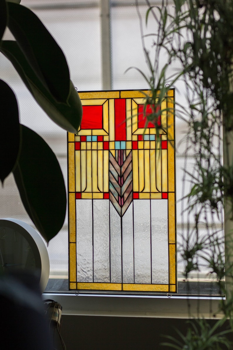 Tiffany Style Stained Glass Window Panel Rv Frank Lloyd Wright Etsy