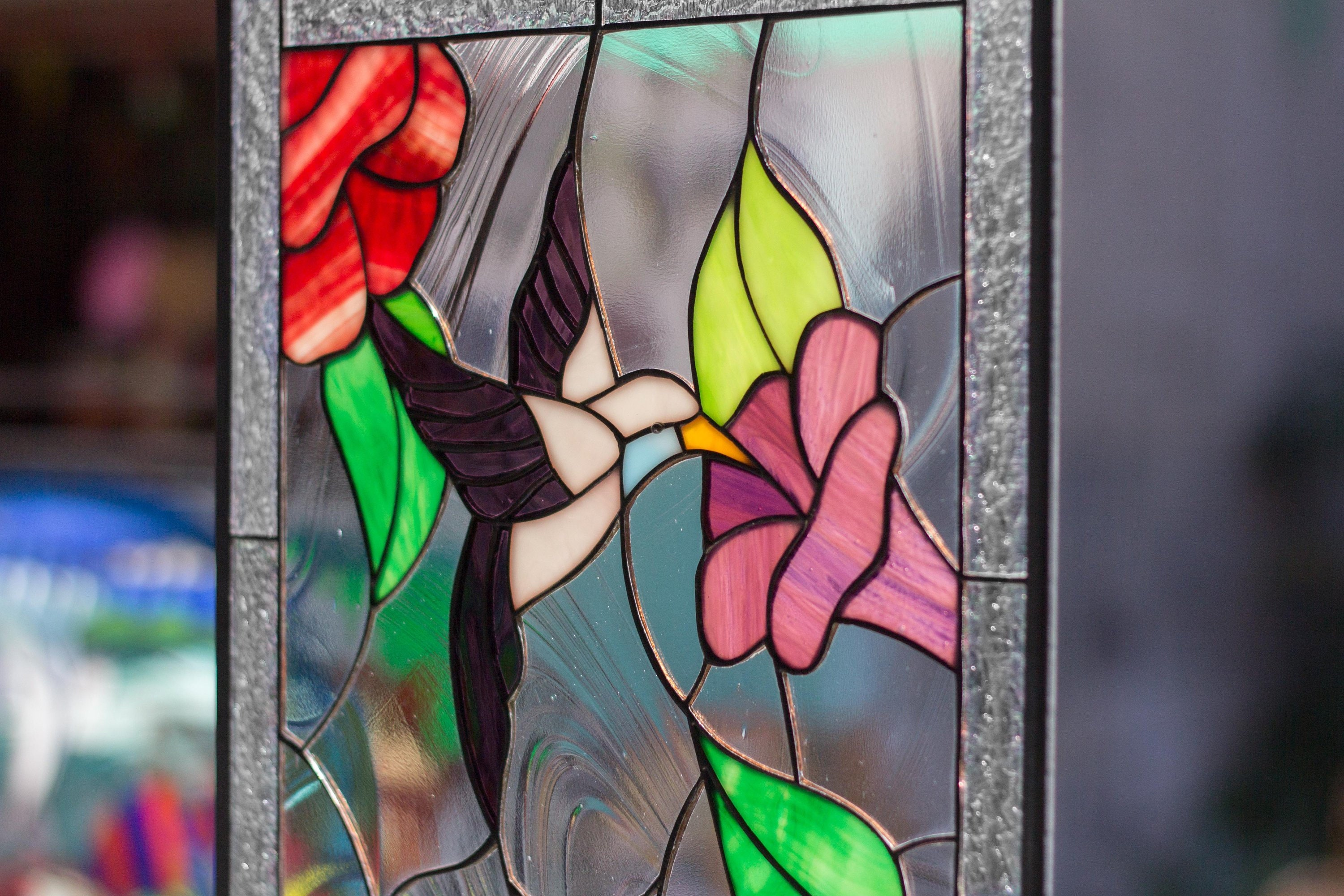 Tiffany Style Stained Glass Leaded Window Rv Garden Hummingbird Flowers Birds Includes Giftbox Card W Envelope Hanging Chain