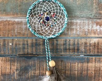 Dream catcher, Blue and white, feathered dream catcher, colored beads