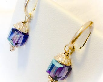 Sparkling Swarovski Crystal purple cube and Sterling silver dangle earrings