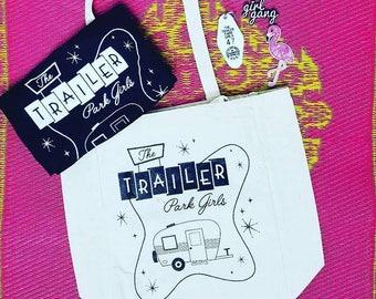 trailer park girl reusable tote , canvas totes, reusable bag,purse,