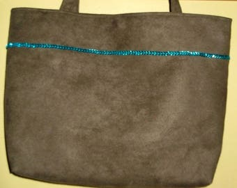 Tote bag in Brown glitter suede turquoise