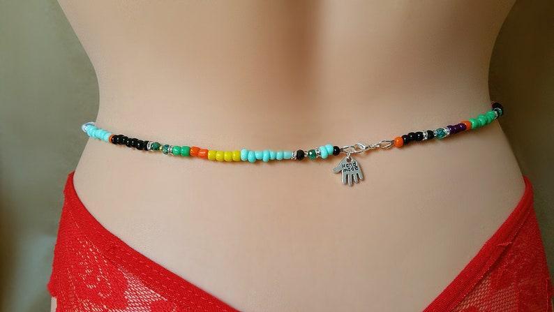 6e530a0cc Waist Beads Colorful Ankh Belly Chain Egyptian Goddess