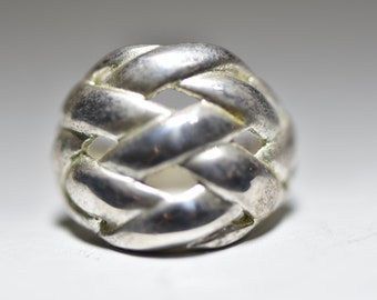 Vintage Sterling Statement Ring Hand Hammered Gold Vermeil Dome Woven Silver Pattern Cocktail Jewelry Size 6