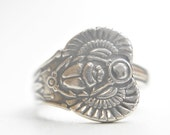 Scarab spoon ring flying winged beetle Egyptian papyrus sterling silver women Size 6.25