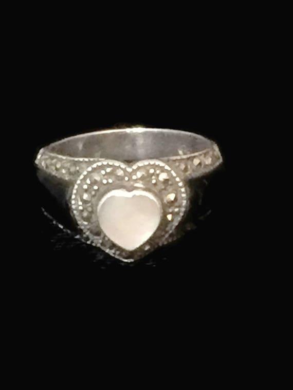 Vintage Heart Ring Size 7 Minus Marcasite Ring Love Ring Size 7 Women Ring Size 7 Sterling Silver Ring Size 7 Boho Ring  Friendship Ring