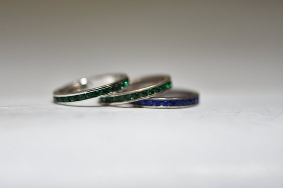 3 Eternity Rings Stacker Bands Vintage Crystal Coc