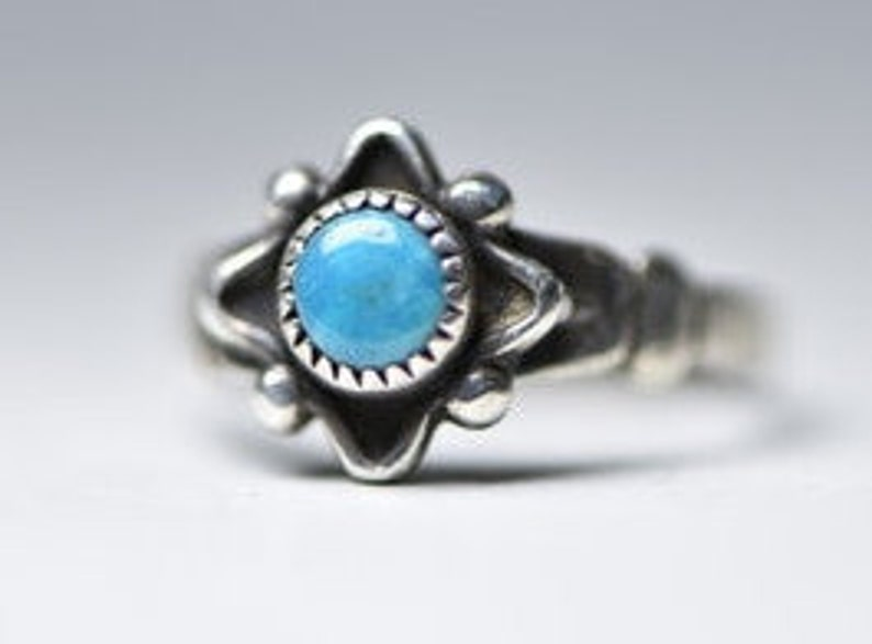 Navajo Ring Turquoise Baby Band Pinky Children Girls Sterling Silver Women Size  4