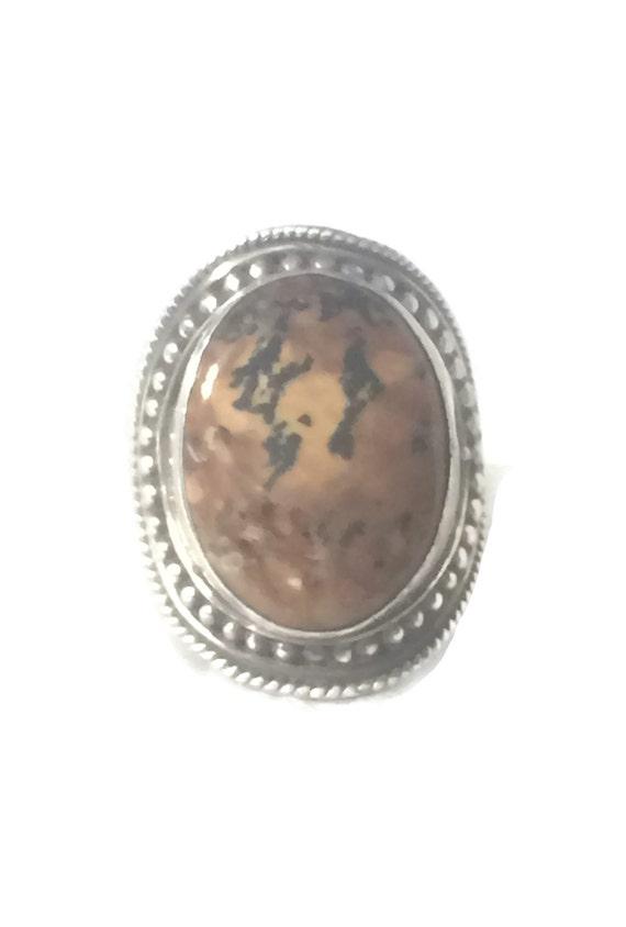 Vintage Jasper Ring Size 9 Minus Cigar Band Size 9
