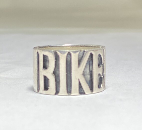 Biker ring BIKER band word Sterling Silver women s