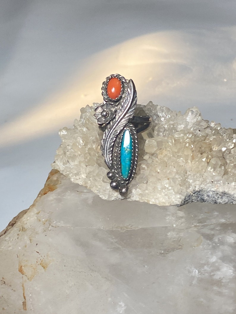 Turquoise ring long coral Navajo southwest sterling silver women size 6.50