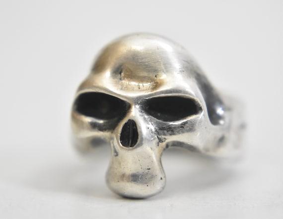 Skull ring biker band Mexico 1940's sterling silver women men size 8