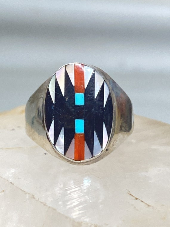 Very Well Made Zuni Turquoise and Coral Ring Sterling Silver