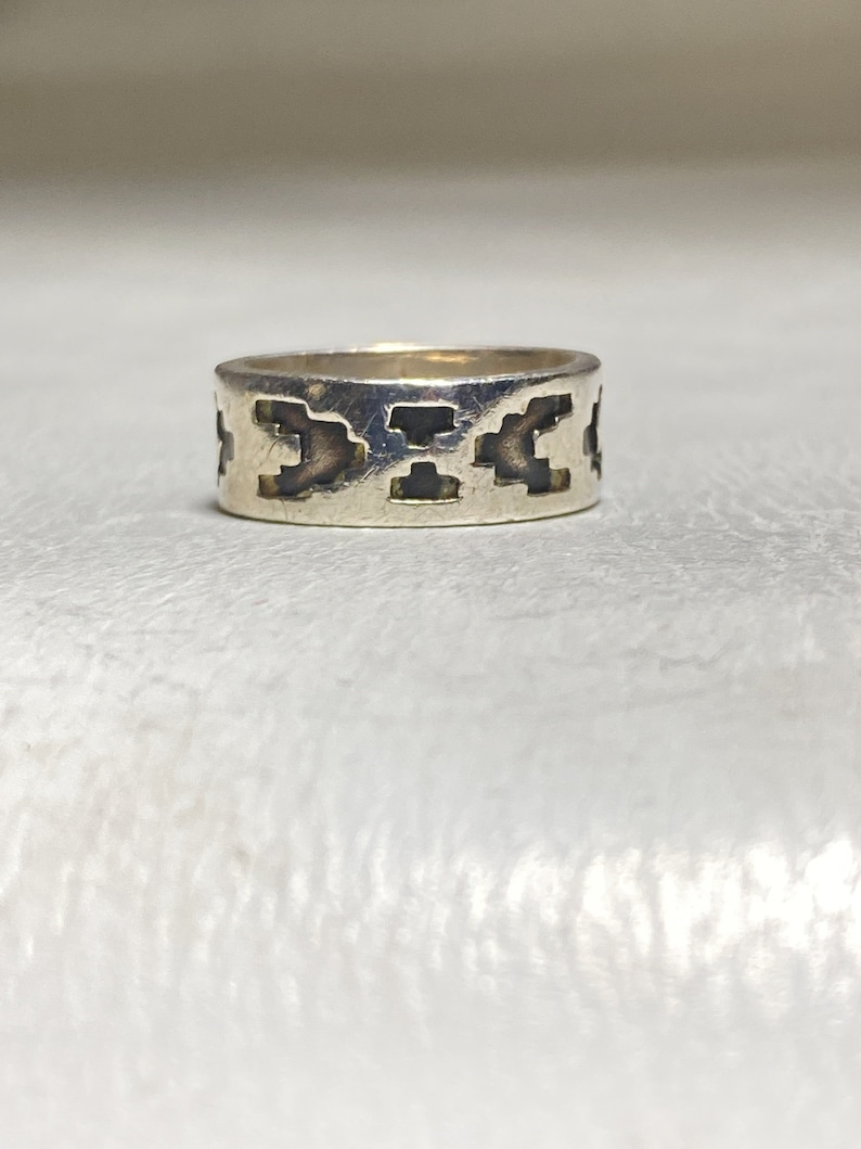 Tapestry ring southwest band sterling silver women men size 6.75