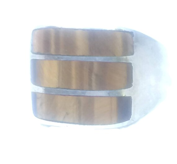 Vintage Sterling Silver Ring  Men Tiger Eye Ring S