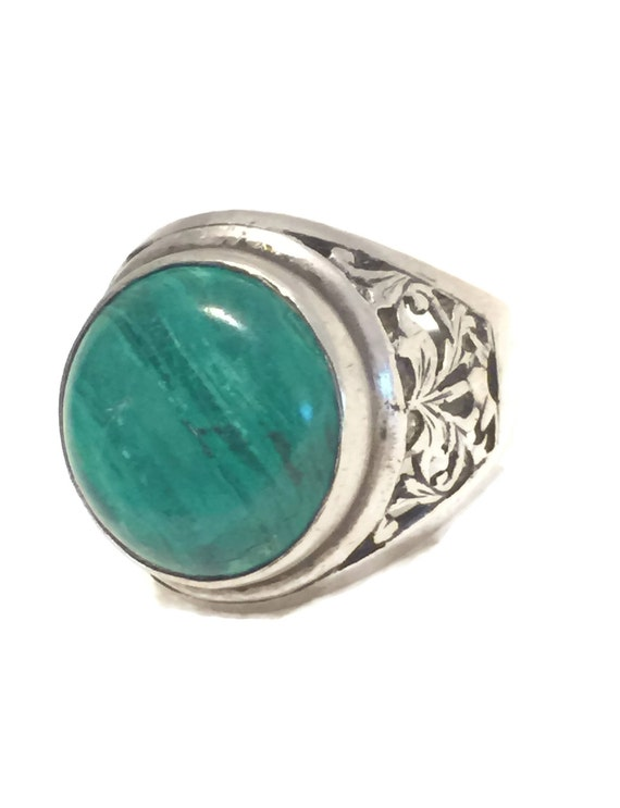 Malachite ring phoenix southwest sterling silver band women men size 9