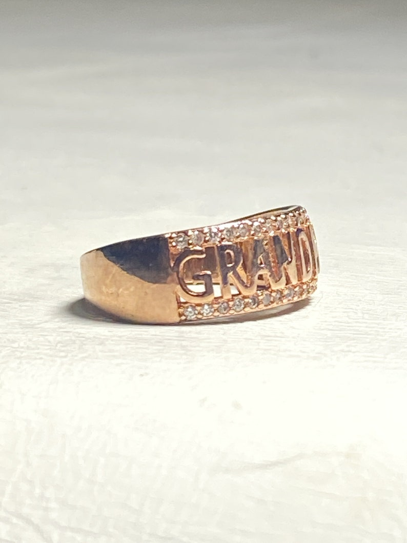 Grandma ring word CZ band ring pinky mid century sterling silver women size 7.50