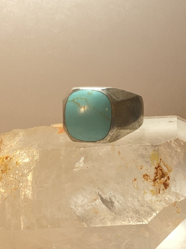 Turquoise ring Mexico southwest sterling silver men women size 13