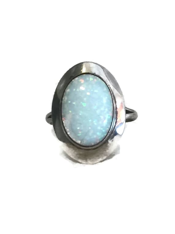 Vintage Sterling Silver Ring Opal Ring Fire Opal R