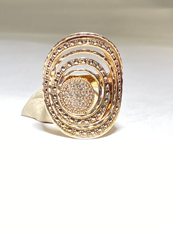 Spiral ring Marcasite spiral band women Vermeil si
