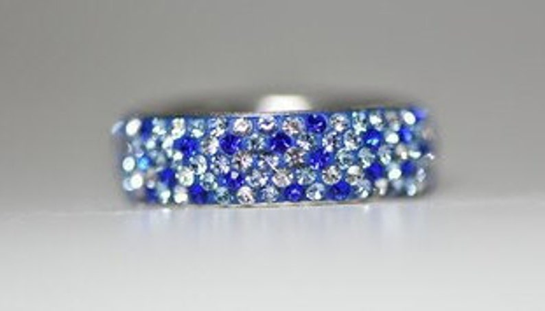 Blue Eternity Ring Crystals Boho Cocktail Sterling Silver Girls Women Size  6.25