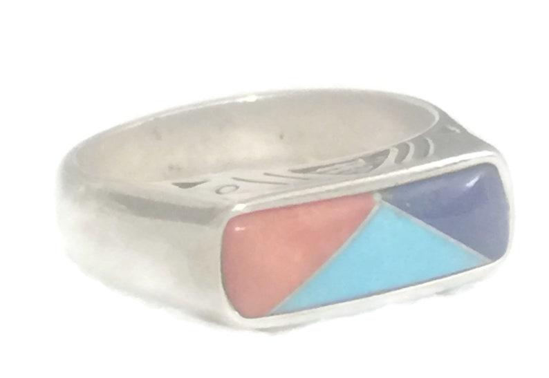 Turquoise Ring Pollack Ring Size 8 Blue Lapis Band Size 8 Blue Lapis Ring Size 8 Southwest Women Ring Size 8 Stacker Band Size 8 Boho Ring