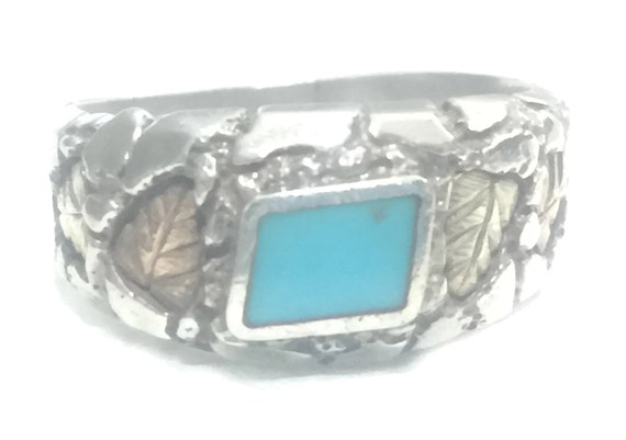Turquoise Ring Thumb Ring Size 9 Southwest Men Rin