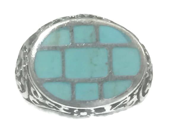 Vintage Turquoise Ring Blue Ring Size 9 Women Ring