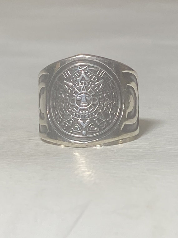 Aztec calendar ring wide Mexico band sterling silver women men size 7.25