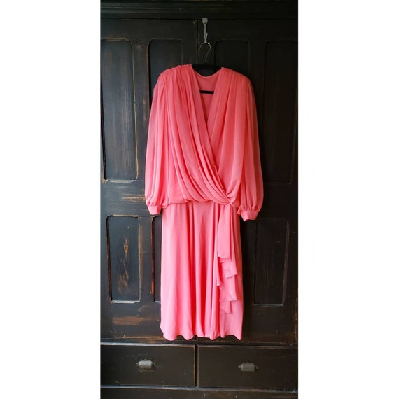 Womens Vintage 40's Style Coral Peach Chiffon Dres
