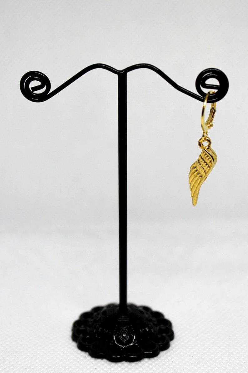 Charms earring Dangle earring Lever back hook Wing shape earring Men/'s dangle ONE earring Gift for him Gold tone Men earrings