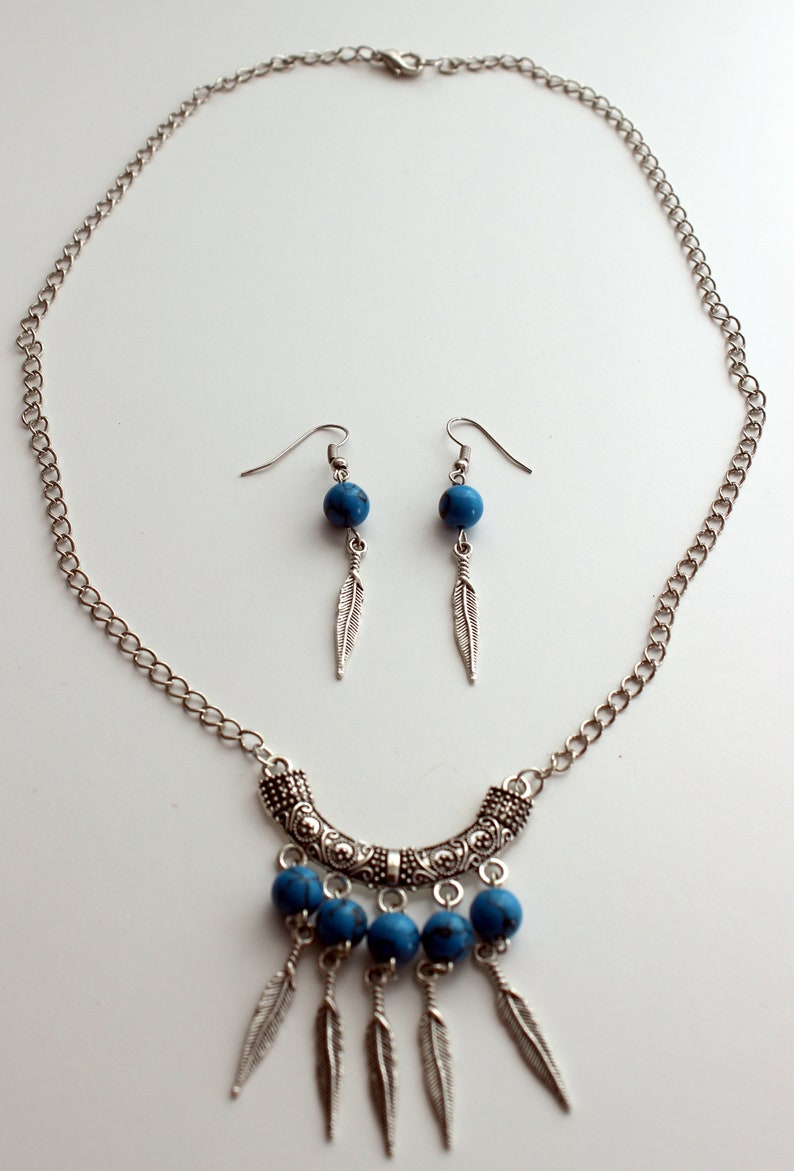 Chain and pendant Jewelry set Turquoise stones and feather charms Handmade necklace and french hook dangle earrings. Silver tone