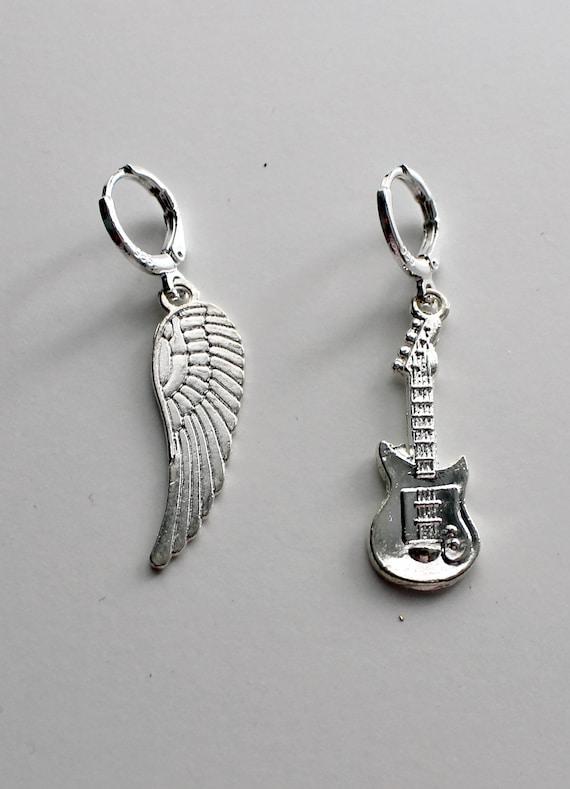 Sterling Silver Guitars Earrings