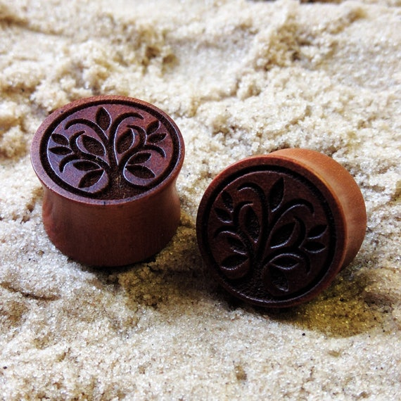 Ear tunnel plug stretcher ONE Natural chocolate palm COCO Wood light weight