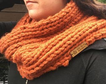 Pumpkin Hand Knitted Chunky Cowl/Snood Scarf