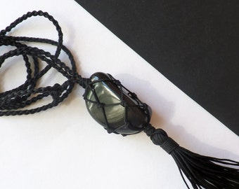 Black obsidian pendant necklace Hand knotted crystal necklace Hippie gifts Scorpio everyday jewelry Wizard macrame necklace Gothic jewelry